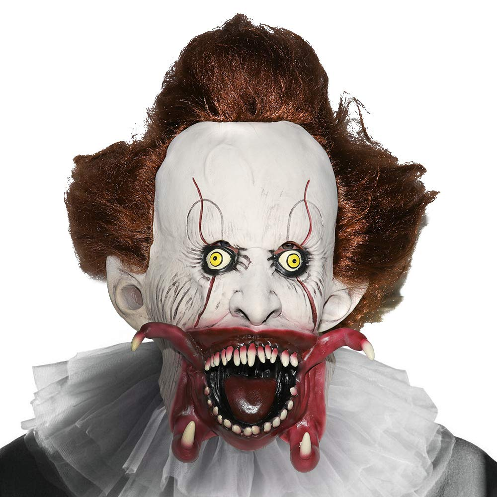 Supmaker Máscara de Payaso Asesino, Scary Clown Mask Disfraz de Halloween Party Masquerade para Cosplay: Amazon.es: Juguetes y juegos