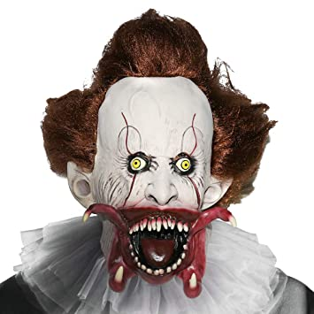 Supmaker Máscara de Payaso Asesino, Scary Clown Mask Disfraz de Halloween Party Masquerade para Cosplay