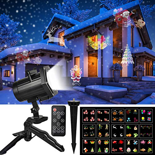 Christmas Projector Lights,UNIFUN 15 Patterns LED Projector Lights Waterproof Dynamic Outdoor Christmas Lights Spotlights Decoration for Christmas, Halloween, Birthday, Valentine's Day, Wedding,Party]()