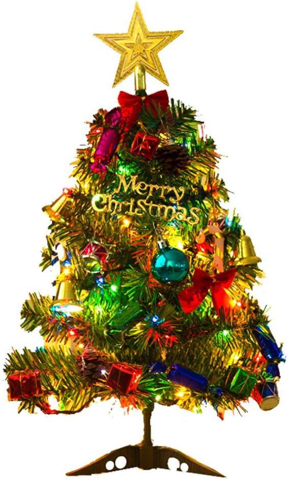 Pequeño árbol de Navidad,50cm Árbol Artificial de Navidad con luz led para decoración de Escritorio de Oficina en casa Juego de miniárboles de Navidad Árbol de Navidad Artificial Pino con Adornos