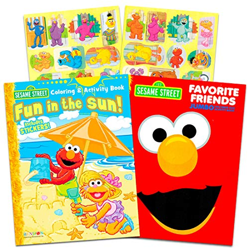 Sesame Street Elmo Coloring Book Set with Stickers (2 Book -