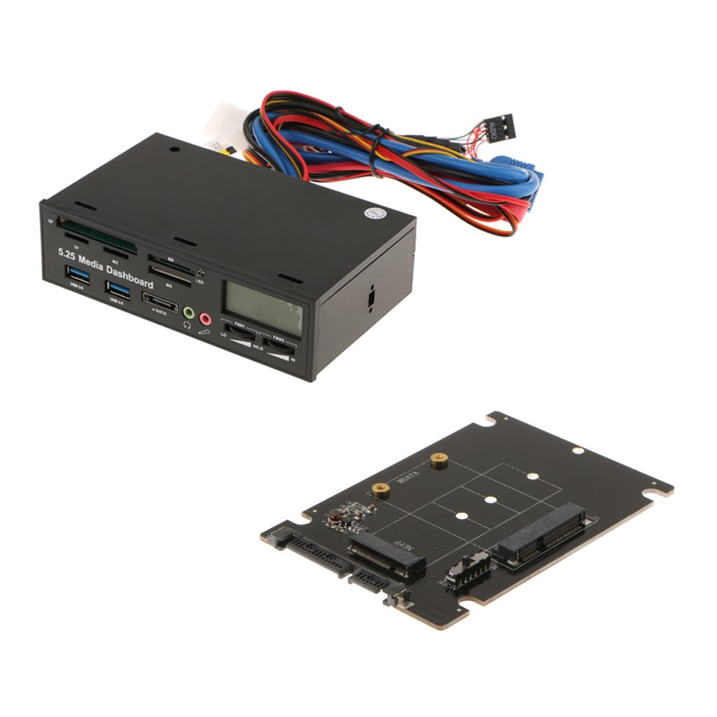 Dovewill 5.25 Media Dashboard Front Panel Card Reader 5.25+mSata to SATA Converter Supports Windows 2000 / XP / Vista and Win 7 / 8; Linux / MAC OS