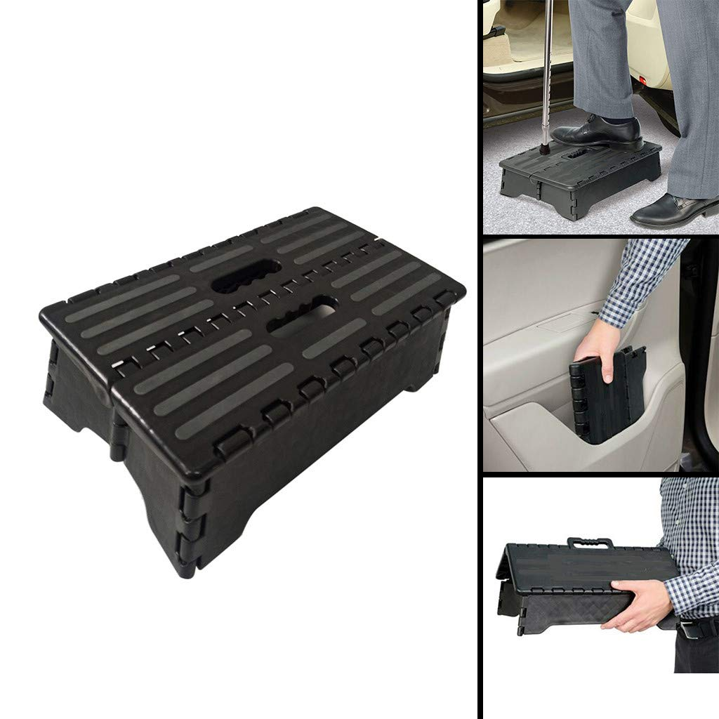 Crylee Portable Folding Step Up Stool Car Height Boost Elder Adult Kid Child Step-Non-Slip Grips Foldable and Easy to Store 38x21.5x13CM