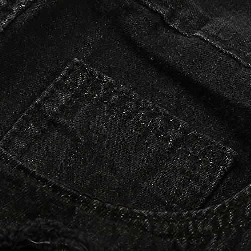 Deportivo Deshilachados Hombres Casuales Cremallera Motorcycle Flacos Slim Vintage Negro Rasgados Biker Pantalones Denim Jeans Pantalón Vaqueros qgvgYn