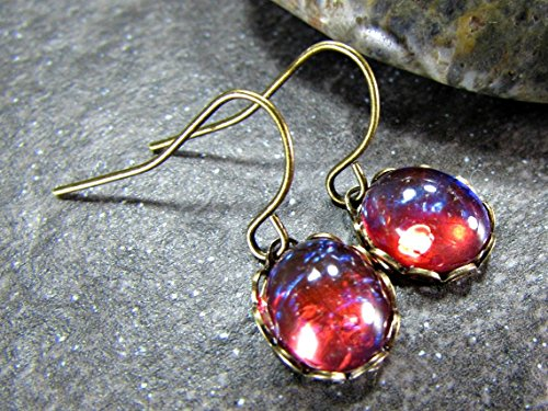 Red Dragons Breath Simulated Opal and Brass Drop Earrings / (French Earwires Handcrafted Artisan Jewelry)