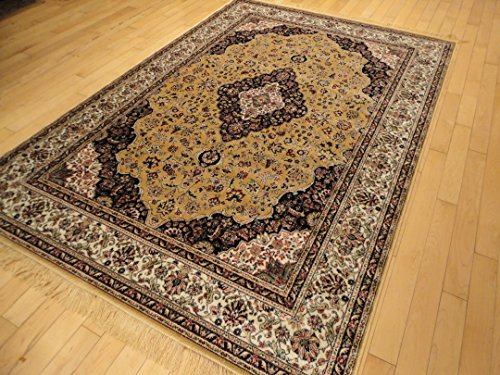 Stunning Silk Gold Rug Multiple Size Beige Rug 5x8 Area Rugs Beige 6x8 Rug Persian Rugs Living Room Area Rugs (Medium 5'x8')