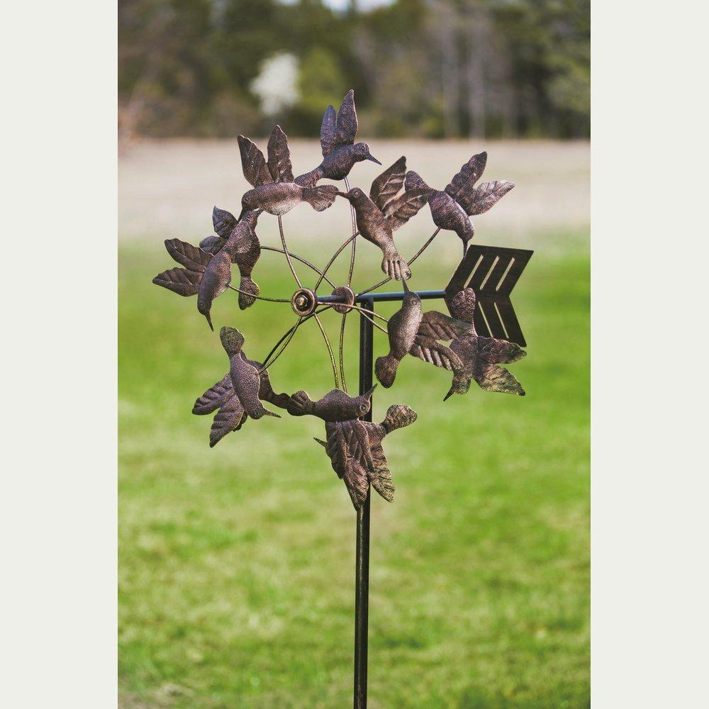 Gifted Living Floating Hummingbirds Kinetic Garden Art , Antique Bronze