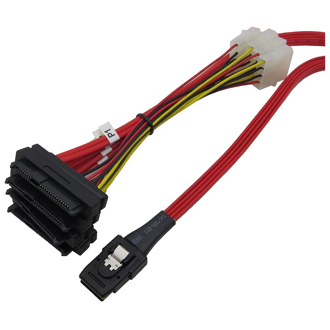 TOOGOO(R) Mini SAS 36P SFF8087 to 4 X SFF 8482 29P SAS with Power Red Cable 1M