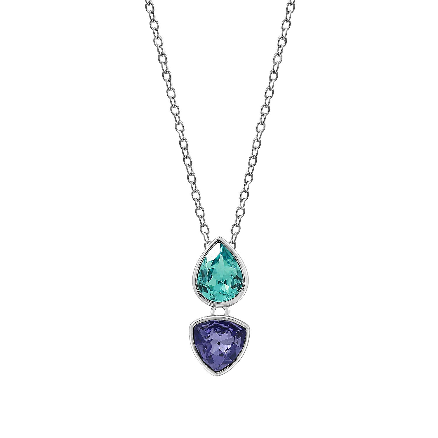 JADMIRE Swarovski Elements Crystal Tanzanite Pear Bezel Pendant Necklace Platinum Plated Sterling Silver