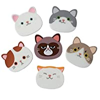 Silicone Coasters 6pcs/set, KOOTIPS Cute Cat Drink Coasters - Cute Silcone Mats, Good Grip, Tabletop Protection Prevents Furniture Damage