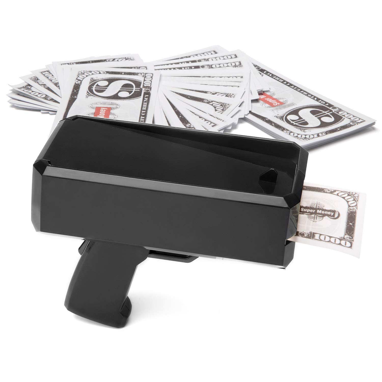 Wowok Black Money Gun Super Money Guns Paper Playing Spary Money Gun Make it Rain Toy Gun with Play Money & 9V Batteries Cash Gun for Game Party Supplies by Wowok (Image #2)