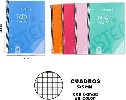 Casterli - Pack de 5 cuadernos gusanillo, tapa plástico, tamaño A4 ...