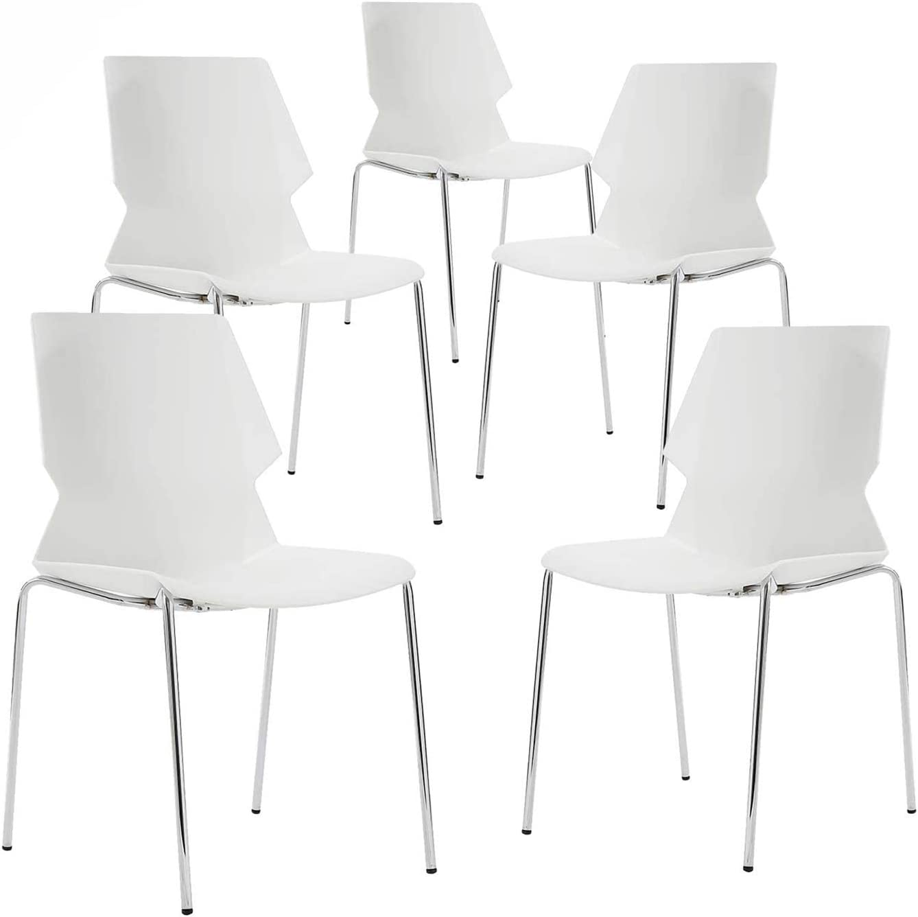 NOVIGO White Stacking Chair with Lumbar Support and Solid Steel Frame for School Church Training Conference Waiting Room Set of 5