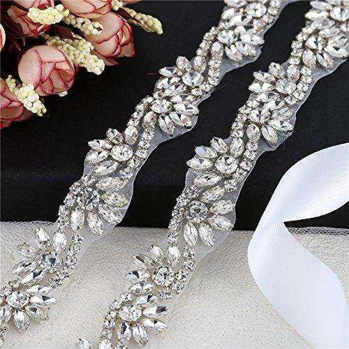 1 Yard Wedding Rhinestone Belt Bridal Bridesmaids Crystal Belts Handmade Rhinestone Applique Rhinestone Trim for Wedding Dress -Silver: Amazon.co.uk: ...