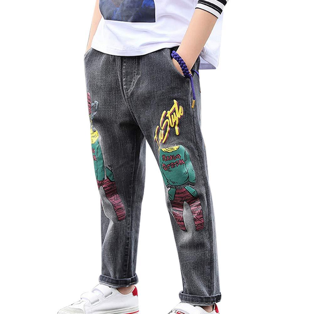 Skyeye Little Boys' Print Jeans Stretchy Denim Jeans Elastic Waist Trouser Children's Trousers