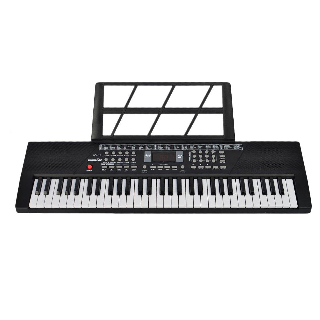 Piano para niños, Foxom 61 Teclas Electrónico Teclados Piano con Micrófono Partitura de Pie Piano Juguete Musical Regalo Para Niños Bebés Principiantes