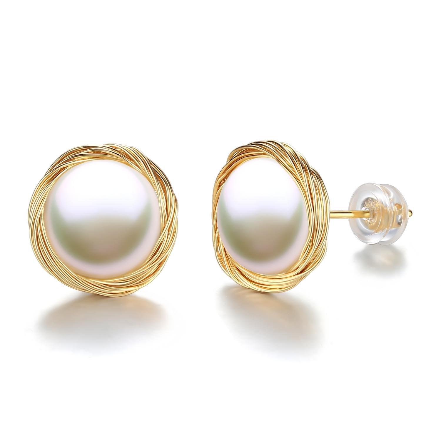 Handmade 14K Gold Women Wire Twist 10mm Large Freshwater Cultured Pearl Stud Earrings