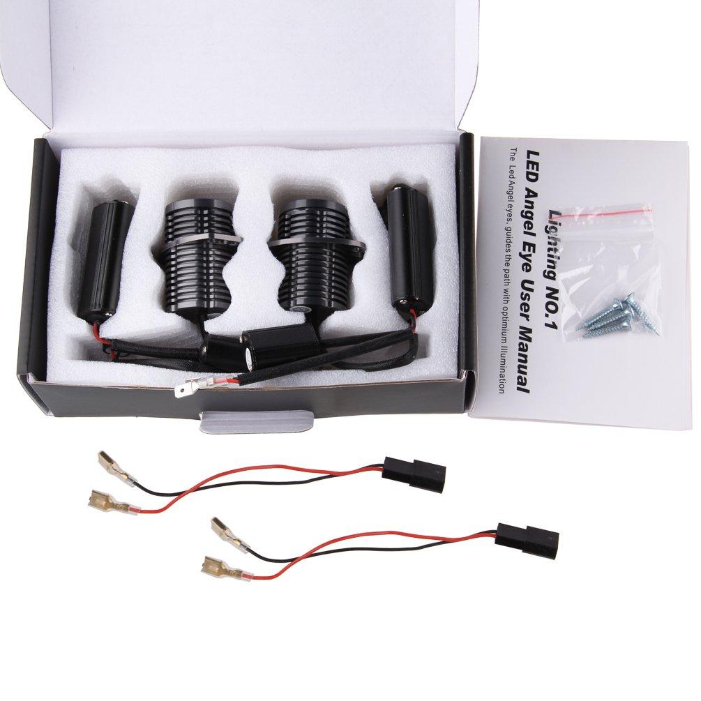 SUNPIE Easy Install 6000K Super White Color LED Angel eyes 40w E90 LED-Markierungsleuchte LED-Birnen-Scheinwerfer-Kit Auto-Lampe DC12-24V