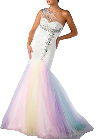 535c0a5c1a Hot Dresses Women s One Shoulder Mermaid Beaded Tulle Rainbow Prom Dresses ( US ...