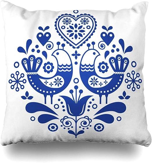 Handmade Skandi Bird Red Design Cushion.