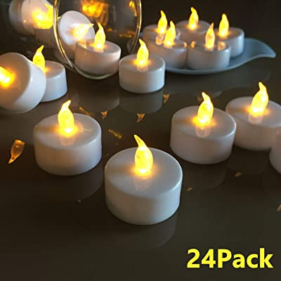 VETOUR Flameless Tea Lights Candles Realistic LED Flickering Operated Tea Lights Steady Battery Tealights Long Lasting Electric Fake Candles in Yellow 24pcs Decoration for Party and Gifts Ideas: Home Improvement