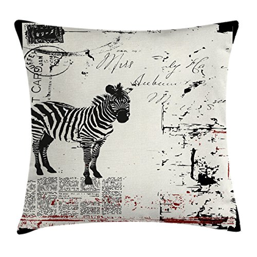 Ambesonne Grunge Decor Throw Pillow Cushion Cover by, Modern Textured African Safari Animal Zebra on Retro Typographic Background, Decorative Square Accent Pillow Case, 16 X 16 Inches, Black Cream