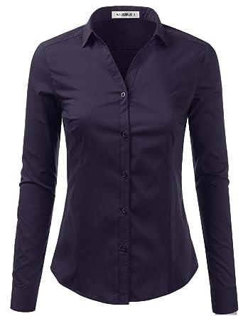 41d907829b2 Doublju Womens Slim Fit Classic Solid Long Sleeve Button Down Blouse Dress  Shirt Navy X-