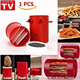 Potatoes Fries Maker - Potato Slicers French Fries Maker Cutter Machine & Microwave Container 2-in-1, No Deep-Fry To Make Healthy Fries (Red)