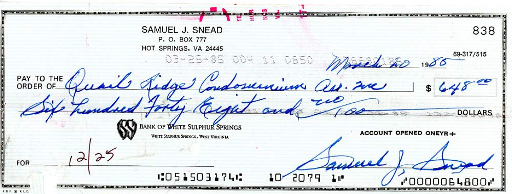 Sam Snead Autographed Signed Auto 3x8.5 Check #838 Certified Authentic