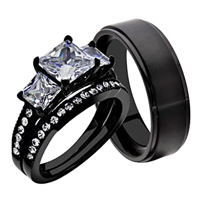 black stainless steel titanium his and hers wedding band ring sets princess cz women sz - Black Wedding Ring Sets