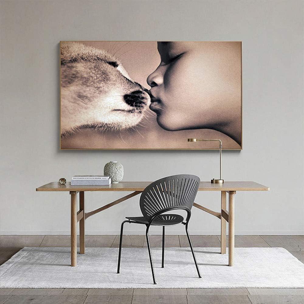 Pintura en Lienzo Carteles e Impresiones nórdicos Niños besándose Imágenes de Pared de Arte para la Sala de Estar Moderna (Sin Marco) R1 60x80CM: Amazon.es: Hogar