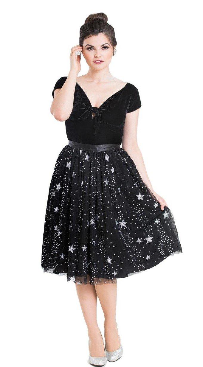 Hell Bunny Cosmic Love Glitter Stars Tulle Mesh Skirt - Black (2XL)