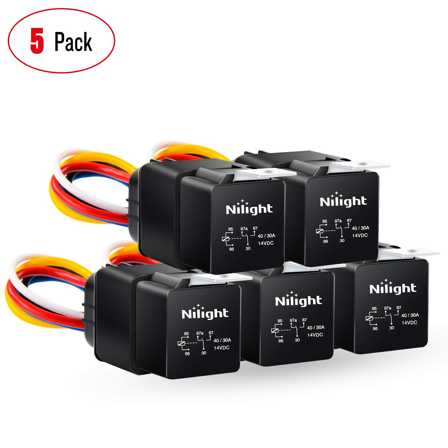 Nilight 50043R Socket 10 Pack SPDT Bosch Style Electrical 12V 30//40 Amp 5-Pin Relays Switch for Automotive Truck Marine Boat,2 Years Warranty