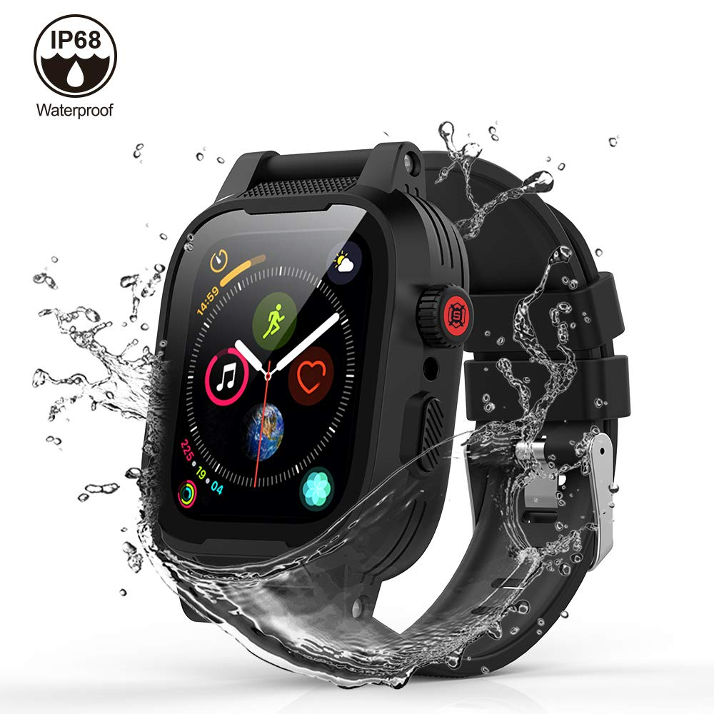 [Waterproof Case for 42mm] AIUERU IP68 Waterproof Watch Case, Full Sealed waterproof iWatch Case with Resilient Shock Absorption for 42mm iWatch Series 3 and 2, Package with 2 Soft Silicone Watch Band by ShellBox (Image #1)