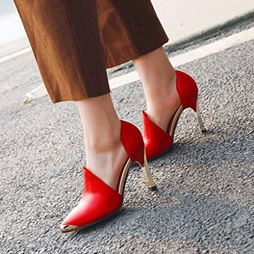 Couleur Véritable femmes pointu talon et Printemps hauts été Rouge cuir Rouge Chaussures taille épais pour talons 37 q70AUw