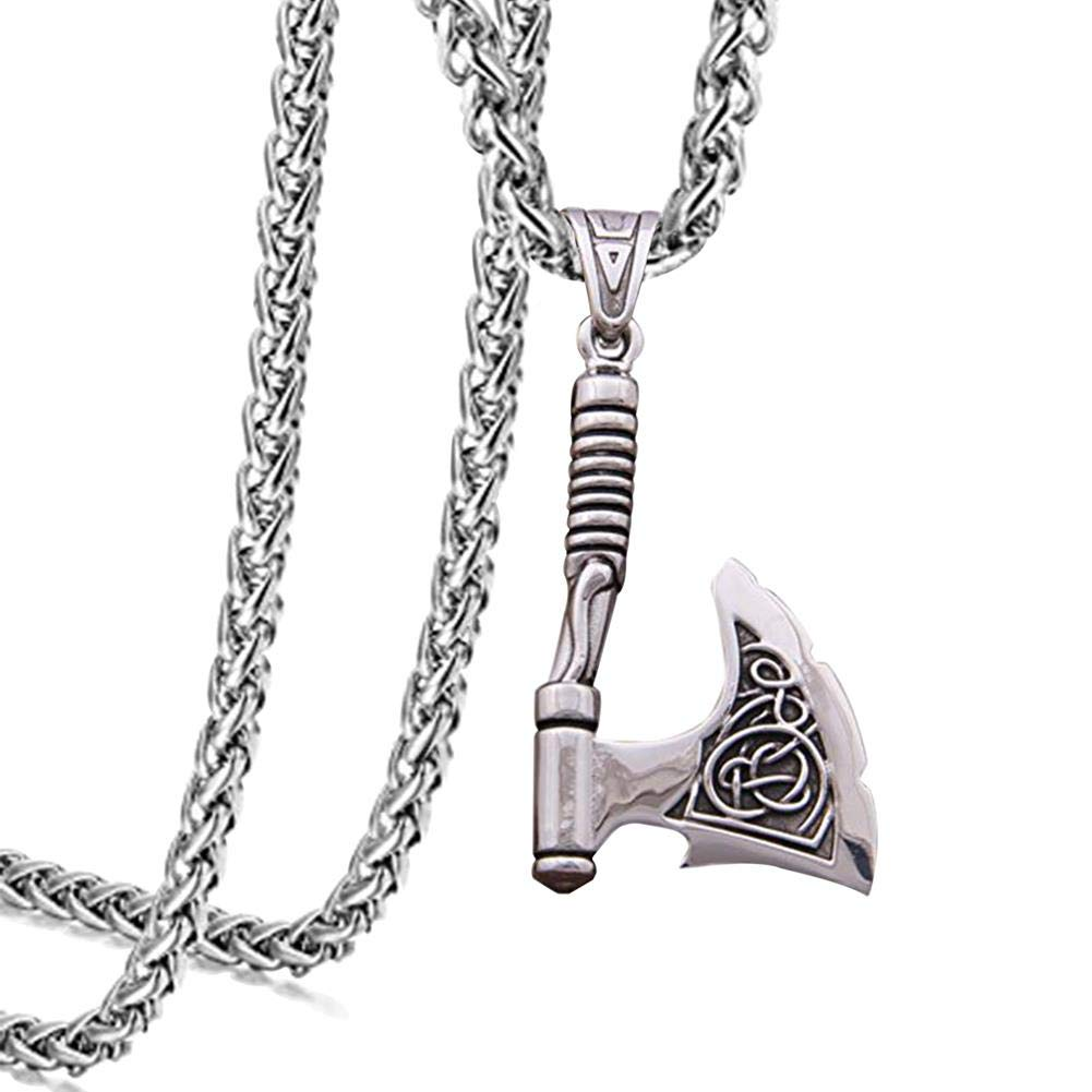 ZONICTA Jewelry Stainless Steel Viking Necklace - Viking Axes Nordic Pendant Necklace Heavy (27.5'' x6mm) (27.5 Inch)