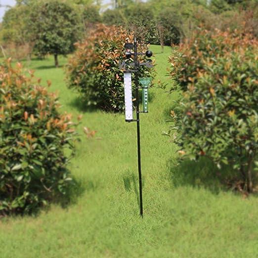 Pluviómetro + Termómetros + Indicador de viento Jardín Estación meteorológica exterior Medidor meteorológico Herramienta de paletas Estación meteorológica para jardín: Amazon.es: Jardín