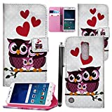 LG K8 2017 Case, PU Leather Case Cover Wallet Protective Magnetic Closure for LG K8 2017 With Card Slot and KickStand Feature - LG K8 2017 CASE COVER (Family Owl Book)