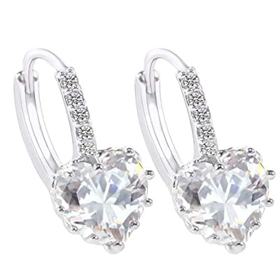 Gahrchian Rhinestones Earrings Stud Swarovski Crystal Pendant Earrings Stud for Women and Girls Gift Jewelry (White): Clothing