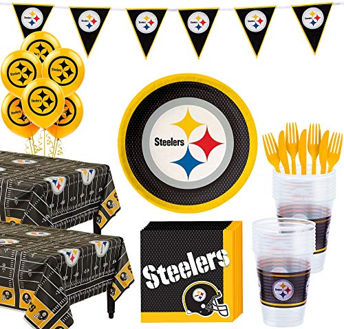 Steelers Party Supplies (Party City Pittsburgh Steelers Super Party Supplies for 36 Guests, Include Plates, Napkins, Table Covers, and)