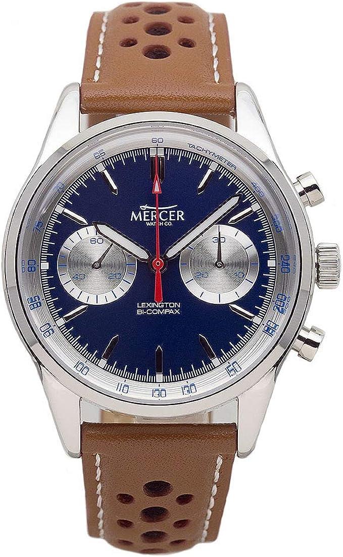 Mercer Lexington Mecánico Automático Sea-Gull Cronógrafo Acero Azul Plata Cuero Hombre Reloj