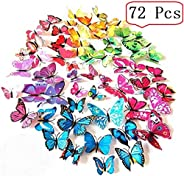 Amaonm 60 Pcs 5 Packages Beautiful 3D Butterfly Wall Decals Removable DIY Home Decorations Art Decor Wall Stic