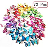 Amaonm 72 Pcs 6 Packages Beautiful 3D Butterfly Wall Decals Removable DIY Home Decorations Art Decor Wall Stickers & Murals for Babys Bedroom Tv Background Living Room (Colorful, Six Color)