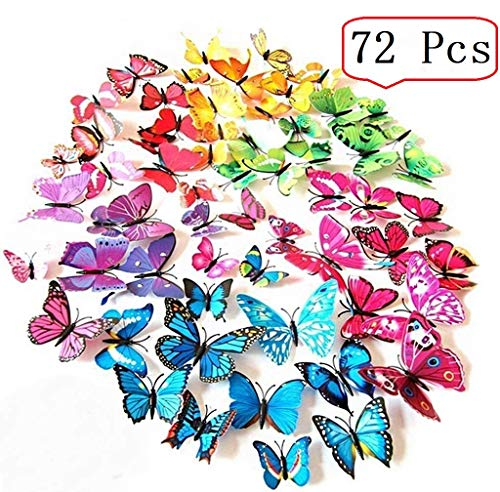 Amaonm 72 Pcs 6 Packages Beautiful 3d Butterfly Wall Decals Removable Diy Home Decorations Art Decor Wall Stickers & Murals for Babys Bedroom Tv Background Living Room (Colorful, Six ()