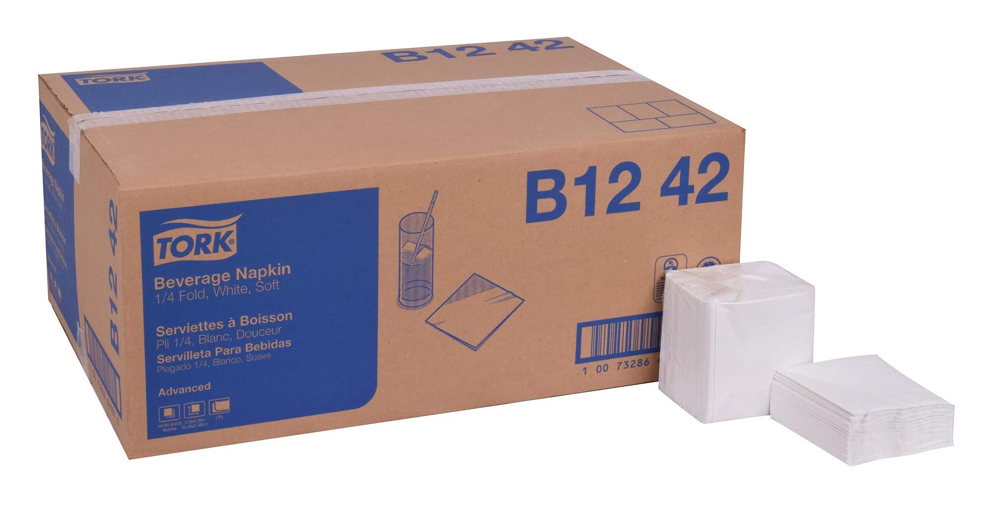 Tork Advanced B1242 Soft Beverage Napkin, Key Embossed, 2-Ply, 1/4 Fold, 9.25'' Length x 9.25'' Width, White (Case of 40 Packs, 150 per Pack, 6,000 Napkins)