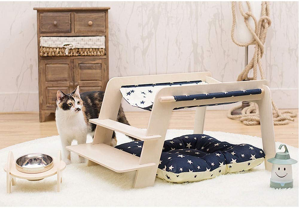 Striped ladder Xuoo Spring and Summer Removable Kennel Cat Bed Teddy Bear Xiong Bomei Dog Wooden Climbing Frame Supplies House Black White Ethnic Wind Ladder with Thick Cushion (Edition   Striped Ladder)