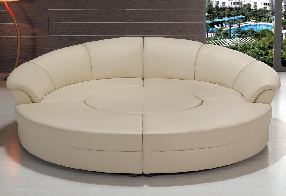 Amazon.com: Modern Circle Sectional Sofa Set With Table   Off White /  Ivory: Kitchen U0026 Dining