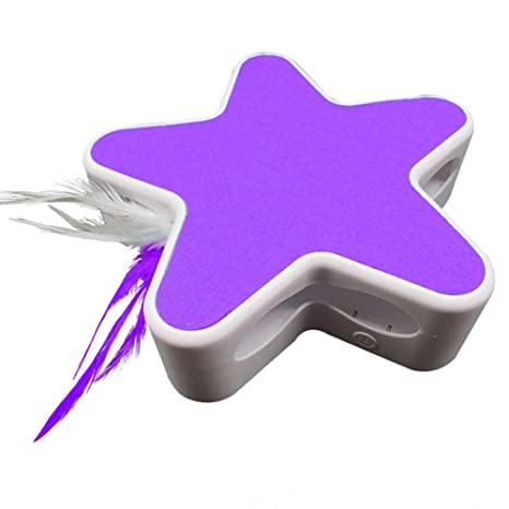 elegantstunning Electric Pet Toy 360 Degree Rotating Star for Pett Playing White Purple