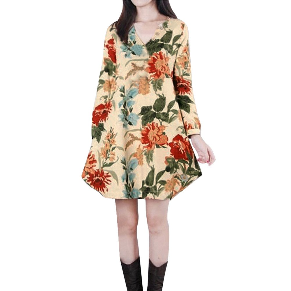 Overmal Women Long Sleeve V Neck Floral Printed Cotton Linen Loose Bohe Casual Dress