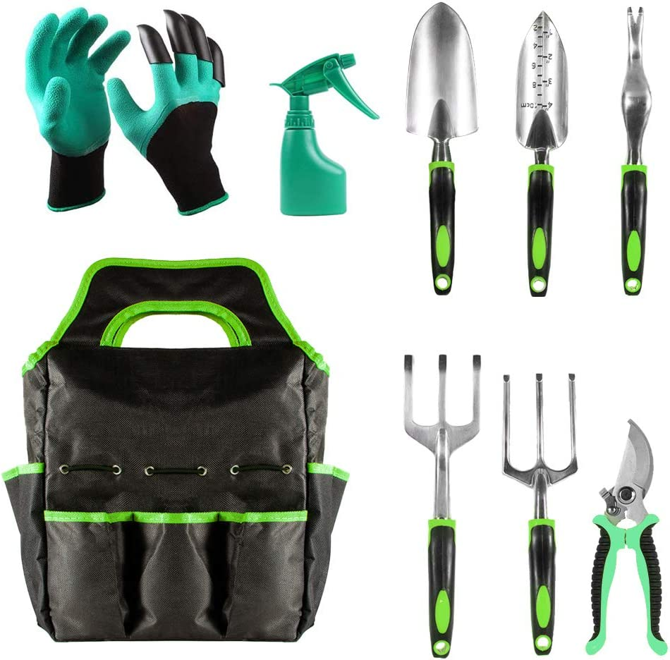 JUMPHIGH Garden Tools Set, 9 Piece Heavy Duty Gardening Tools with Garden Gloves and Garden Tote, Aluminum Outdoor Garden Kit Includes Hand Trowel Pruners and More, Gardening Gifts for Men Women